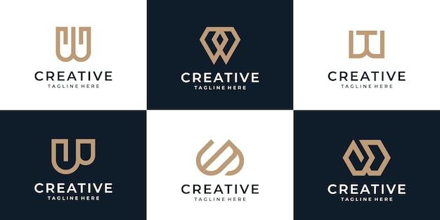 기하학적 크리에이 티브 편지 w 로고 디자인 영감의 세트