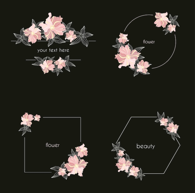 葉と花輪と幾何学的な花のフレームのセット