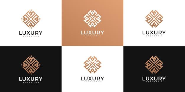 Набор геометрических цветочных логотипов