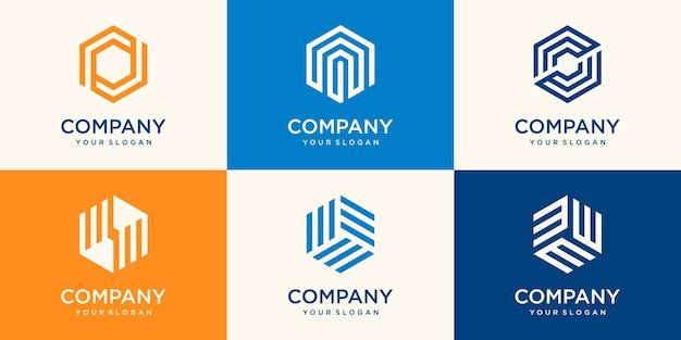 ストライプの概念、現代の会社のビジネスロゴテンプレートと幾何学的な六角形のロゴデザインのセット