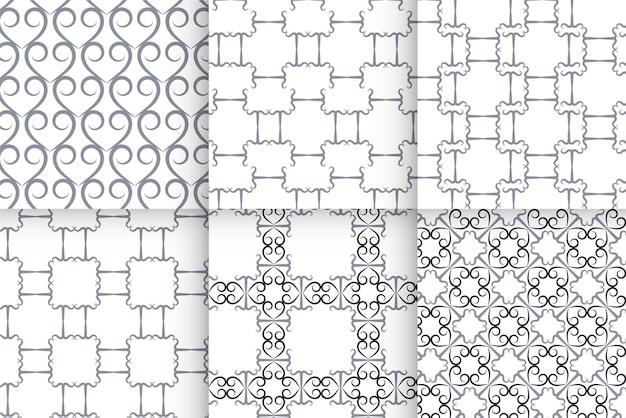 기하학적 밝은 회색 완벽 한 패턴의 집합