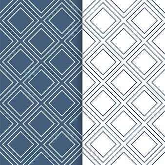 Набор геометрических узоров. перекрывающиеся квадраты бесшовные в белом и синем цветах.