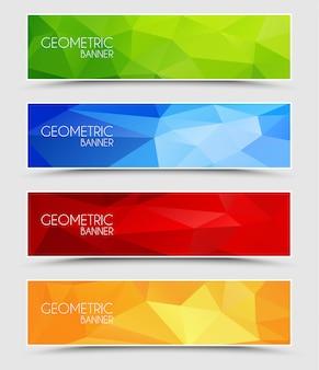 Набор геометрических многоугольных баннеров