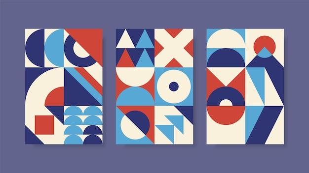 바우 하우스 스타일의 기하학적 포스터 세트
