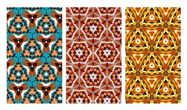 아프리카 스타일의 기하학적 완벽 한 패턴의 집합