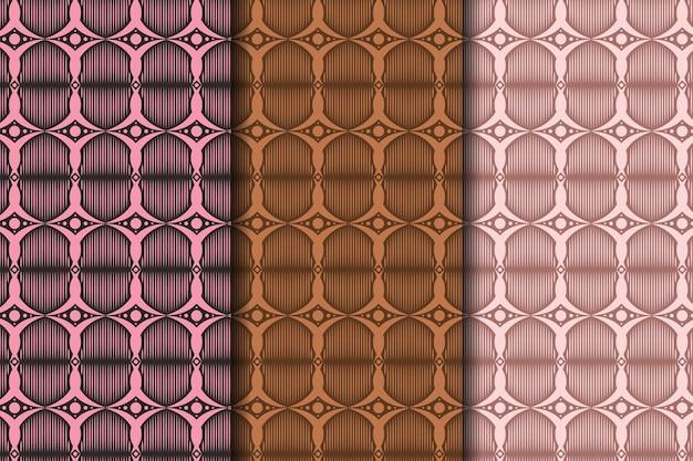 幾何学的なシームレスパターンのセット抽象的な幾何学的なグラフィックデザインの印刷パターン暗い色