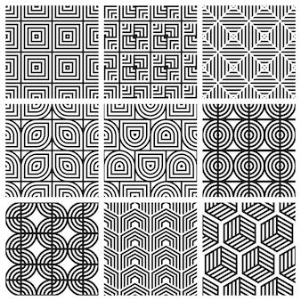 幾何学的なシームレスパターンのセット。抽象的な幾何学的な六角形のグラフィックデザイン
