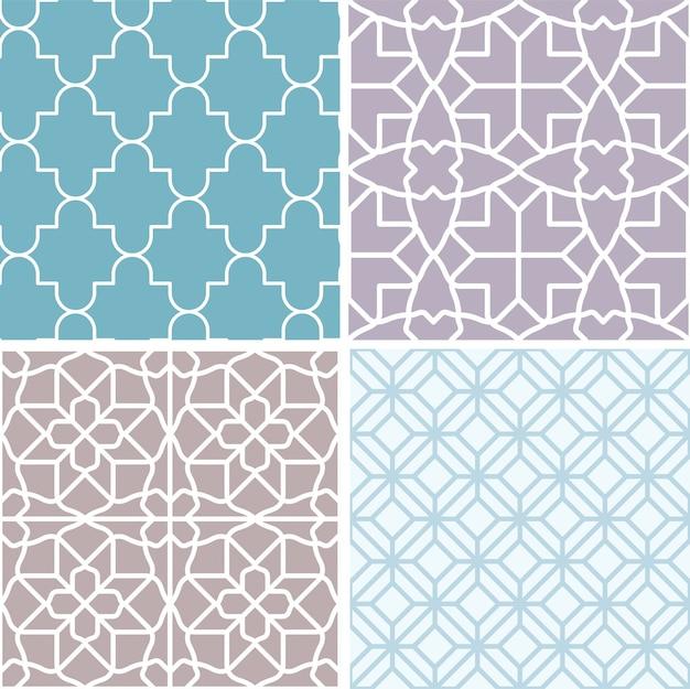幾何学的なシームレスパターンのセット