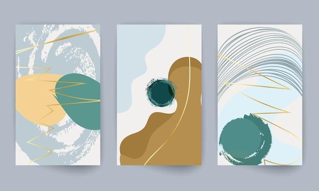 Набор геометрических фигур. абстрактные рисованной элементы дизайна эффект акварели. печать современного искусства. современный дизайн с формами каракули. золотые линии.
