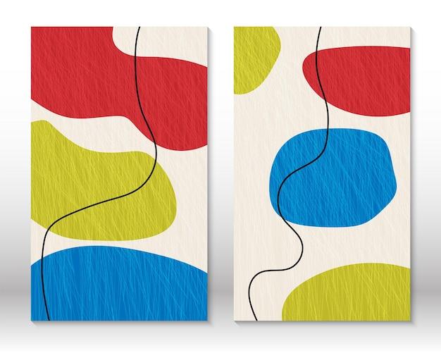 기하학적 모양의 집합입니다. 낙서 디자인 현대 추상 회화입니다. 추상 손으로 그린 모양입니다. 수채화 효과 디자인입니다. 현대 미술 인쇄입니다. 낙서 요소가 있는 현대적인 디자인.