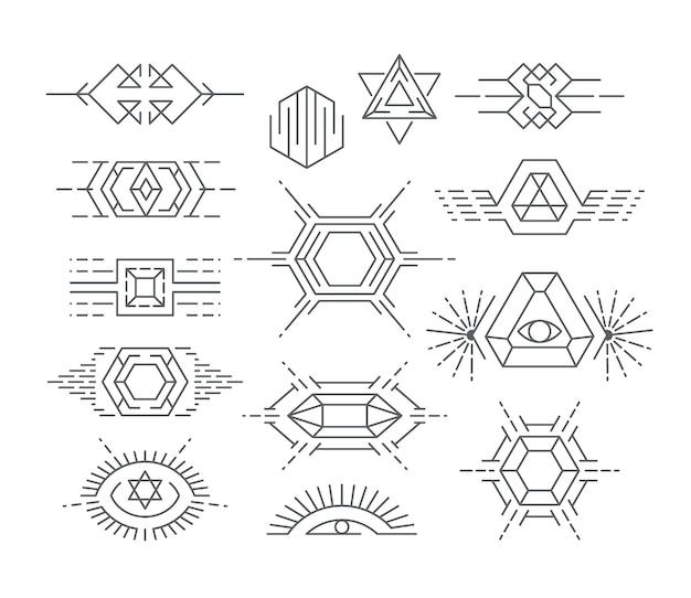 Набор геометрических символов, линейных логотипов и элементов дизайна.