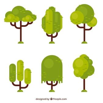 Set of geometric trees in flat design