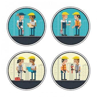 幾何学的な労働者の漫画のセット