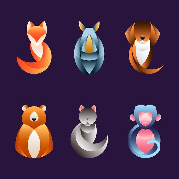 기하학적 동물 디자인 벡터의 집합
