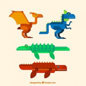 Набор геометрических динозавров в плоском дизайне