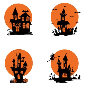 Набор призрачных домов. хэллоуин тема. элементы для плаката, открытки, приглашения. иллюстрация