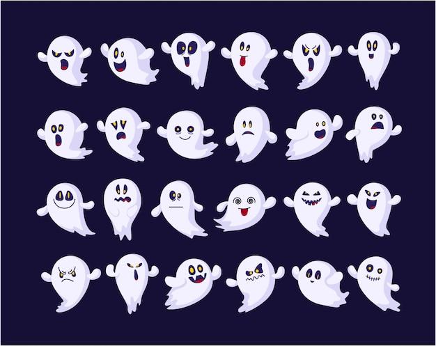 Набор призраков смайликов для хэллоуина, изолированные, иконки, забавные жуткие персонажи