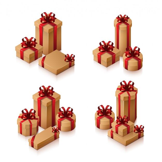 활과 리본으로 선물 상자 세트입니다. 흰색 바탕에 아이소 메트릭 그림입니다.