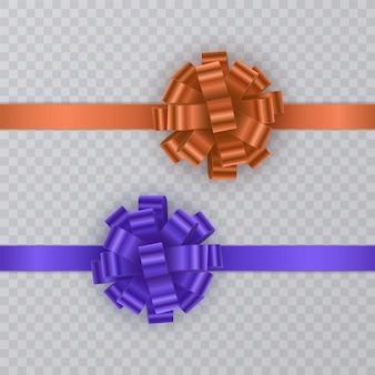 블루와 오렌지 색상의 현실적인 활과 선물 리본 세트.