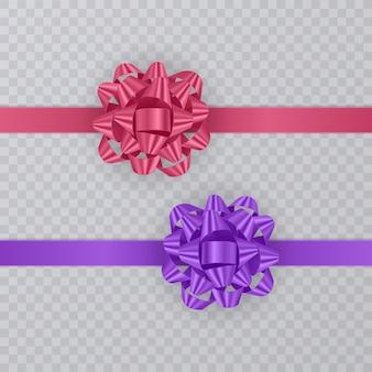 분홍색과 보라색의 현실적인 활과 선물 리본 세트.