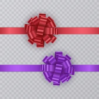 빨간색과 보라색의 현실적인 활과 선물 리본 세트.