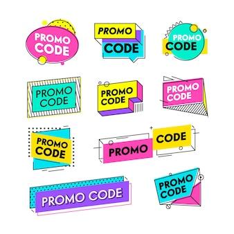 프로모션 코드가 있는 상품권 또는 쿠폰 세트. 인증서 템플릿 디자인, 할인 제공 그래픽 디자인 요소, 프로모션 코드. 광고 특별 제안 전자 상거래. 선형 벡터 일러스트 레이 션