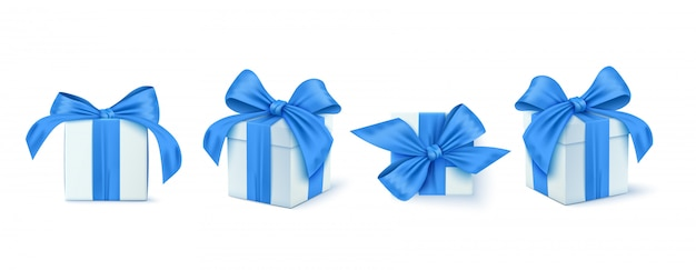 Набор подарочной коробки. коллекция реалистичных подарочных подарков
