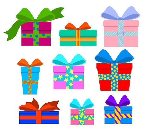 Набор подарков в разноцветных коробках с лентой