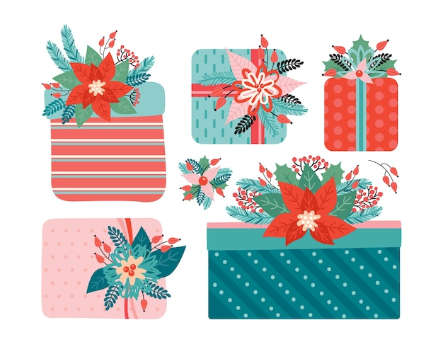 Набор подарков с бантом украшен новогодними цветочными элементами. с рождеством и новым годом. пуансеттия, хвоя, цветы, листья, ягоды. модный ретро-стиль. нарисованный от руки