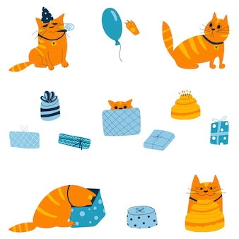 Набор рыжего дня рождения кота в подарочной коробке в разных ситуациях в мультяшном стиле рисованной каракули