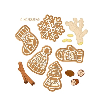 다양한 모양과 향신료의 진저브레드 쿠키 세트 전통적인 크리스마스 베이킹