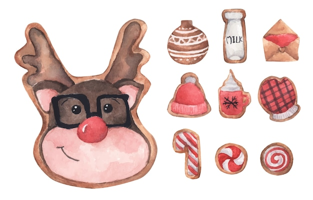 ジンジャーブレッドのかわいいクッキーのセットです。水彩イラスト。