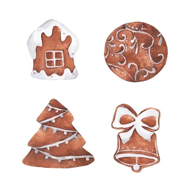 진저 귀여운 쿠키의 집합입니다. 수채화 그림.