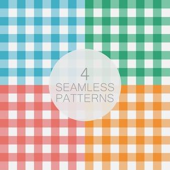 깅 검 완벽 한 패턴의 집합입니다. 격자 무늬, 식탁보, 옷, 셔츠, 드레스, 종이, 침구, 담요, 퀼트 및 기타 섬유 제품의 질감. 벡터 일러스트 레이 션.