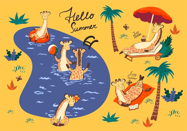 수영장에서 휴가에 기린의 집합입니다.