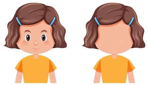 女の子のさまざまな髪型のセット