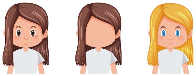 여자 머리의 세트