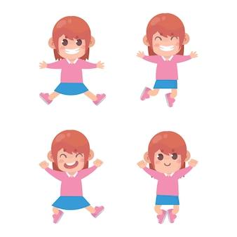 女の子のジャンプと笑顔のセット