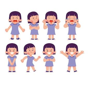 여자 아이 아이 문자 얼굴 표정 감정 행복 스트레스 슬픈 좌절 그림의 집합