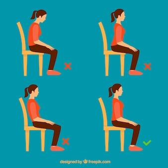 Набор девушки, сидящий правильно и неправильно
