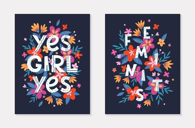 ガーリーモダンなイラストのセットtシャツポスターカードと花のプリントのスタイリッシュなプリント