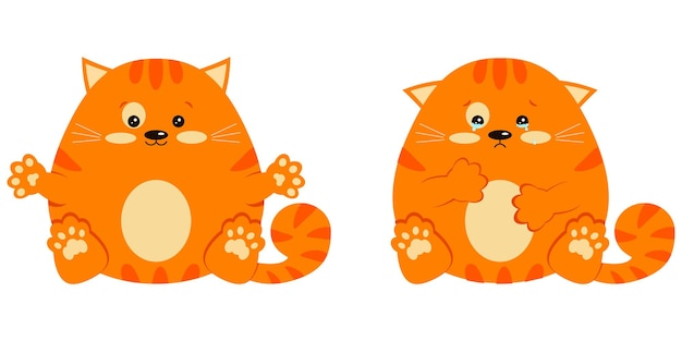 Набор радостно улыбается и грустно плачет со слезами, сладкий и милый жирный рыжий полосатый котенок в сидячей позе.