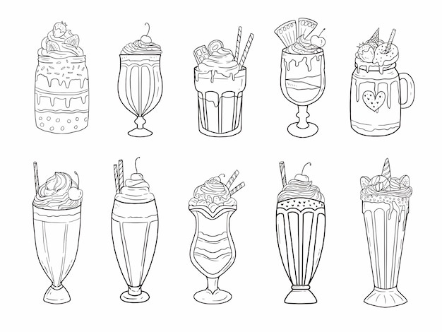 Набор стеклянных и стеклянных контейнеров для питья для коктейлей, йогурта и сока в стиле линии