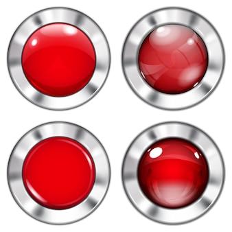 金属の境界線を持つガラスとプラスチックの赤いボタンのセット