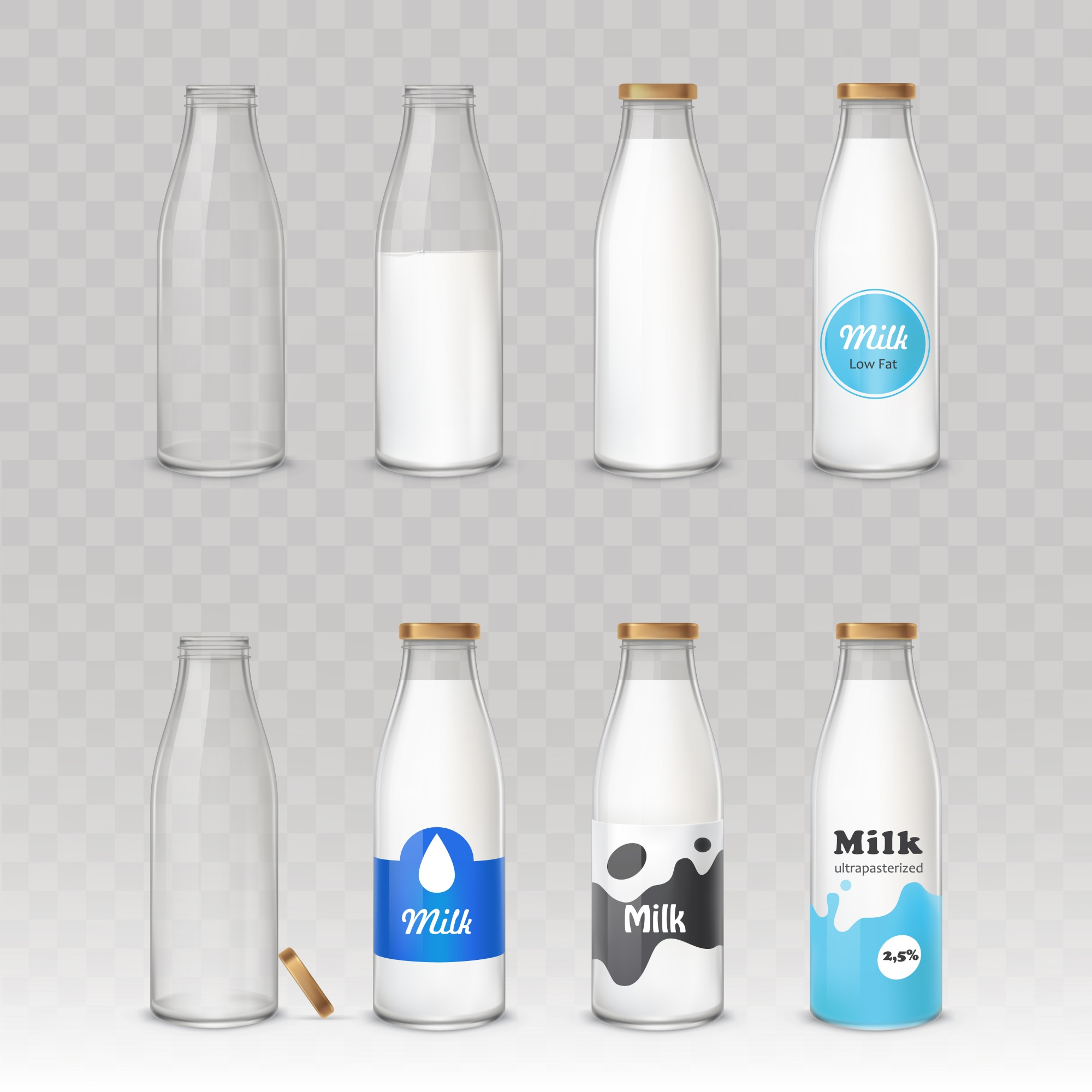 Set of glass bottles with milk with different labels.
