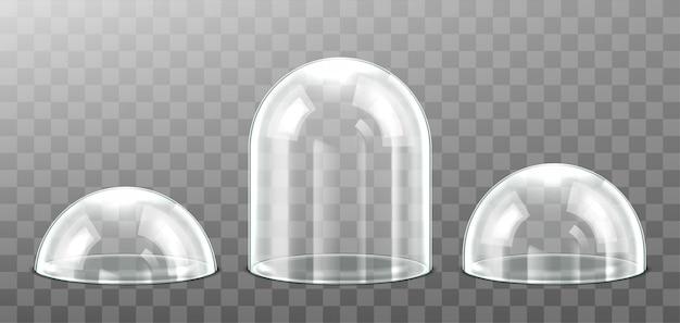 투명 한 배경에 고립 된 유리 돔의 집합입니다. 현실적인 자세한 구형 유리 돔 커버. 삽화