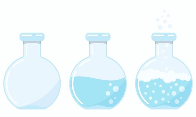 Набор иконок стеклянных колб с продолжающейся химической реакцией на разных этапах процесса, изолированные на белом фоне.