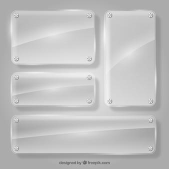 Набор стеклянных рам в реалистичном стиле