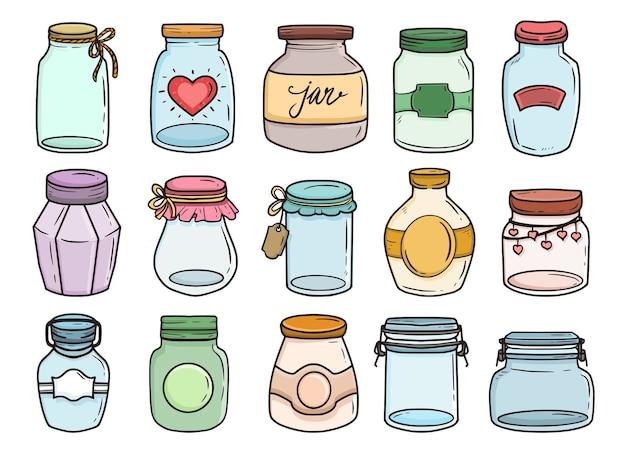 Набор стеклянных банок иллюстрации рисования каракули