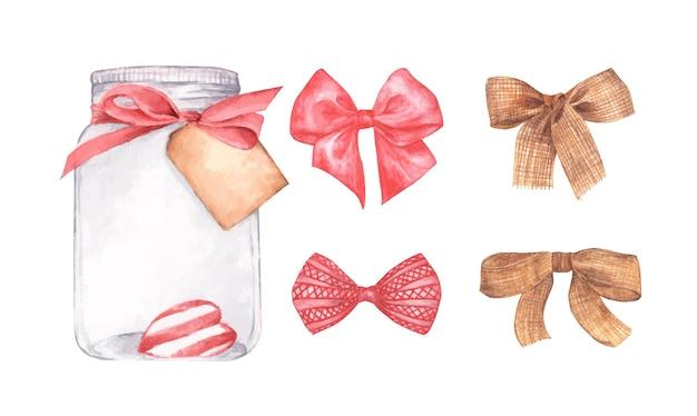 발렌타인 하트의 상징으로 유리 항아리의 집합입니다. 발렌타인 데이 선물, 사랑 개념. 수채화 그림.